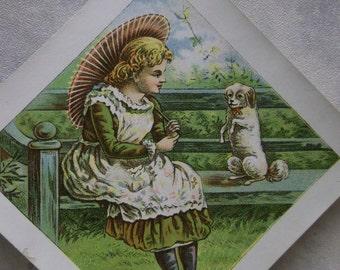 Pretty Girl w/ Dog & Parasol - Victorian Card - Diamond Shape - 1800's