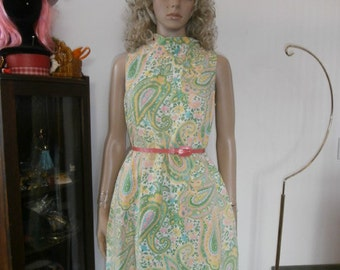 Womens Pastel Paisley Sleevless Dress 70s Floral Paisley Retro-Day Dress Casual