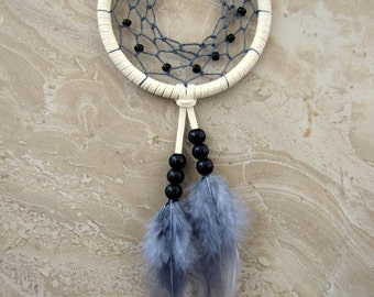 Dream Catcher - Car Dream Catcher, Colorful Feather Dreamcatcher, Ivory and Gray
