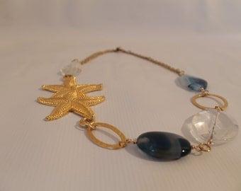 Starfish Statement Necklace - Sodalite Blue
