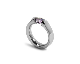 High Setting Tension Set Ring Amethyst Stainless Steel
