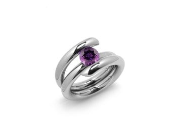Contemporary Amethyst High Tension Ring in Stainless Steel