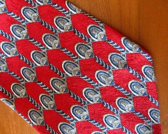 Vintage Neck Tie Designer Roundtree and Yorke Silk Tie Red Gray Brown Gold