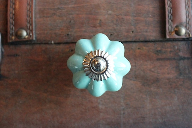 Drawer Knob / Cabinet Pull Ceramic Pumpkin In Mint Green