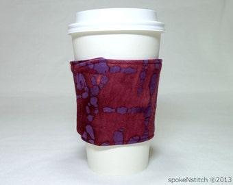 Coffee Sleeve Burgundy and Purple Batik Cup Cozy