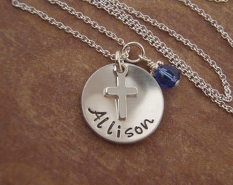 Girl's first communion necklace - Name and cross necklace - Personalized Sterling silver necklace - Photo NOT actual size