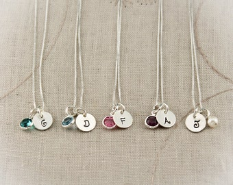 Set of Six (6) Hand Stamped Personalized Initial Bridesmaid Necklaces Bridesmaids Gifts with Pearl or Birthstone