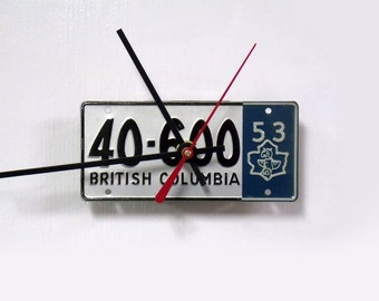 1953 British Columbia Bicycle License Plate Wall Clock - Canada Mini Bike License Tag Clock