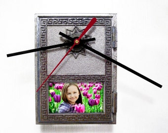 Wall Clock with Picture Frame from Post Office Box Door - Unique Wall Clock - Gift for Mom