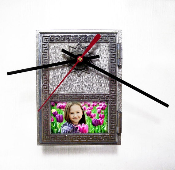 wall clock with picture frame from post office box door