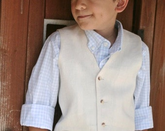 Linen Hat Shorts and waistcoat/vest ring bearer first communion baptism wedding