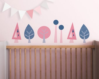 Kids Wall Decal and Baby Nursery Wall Decal in Custom Colors. Mini Trees Children Wall Decal