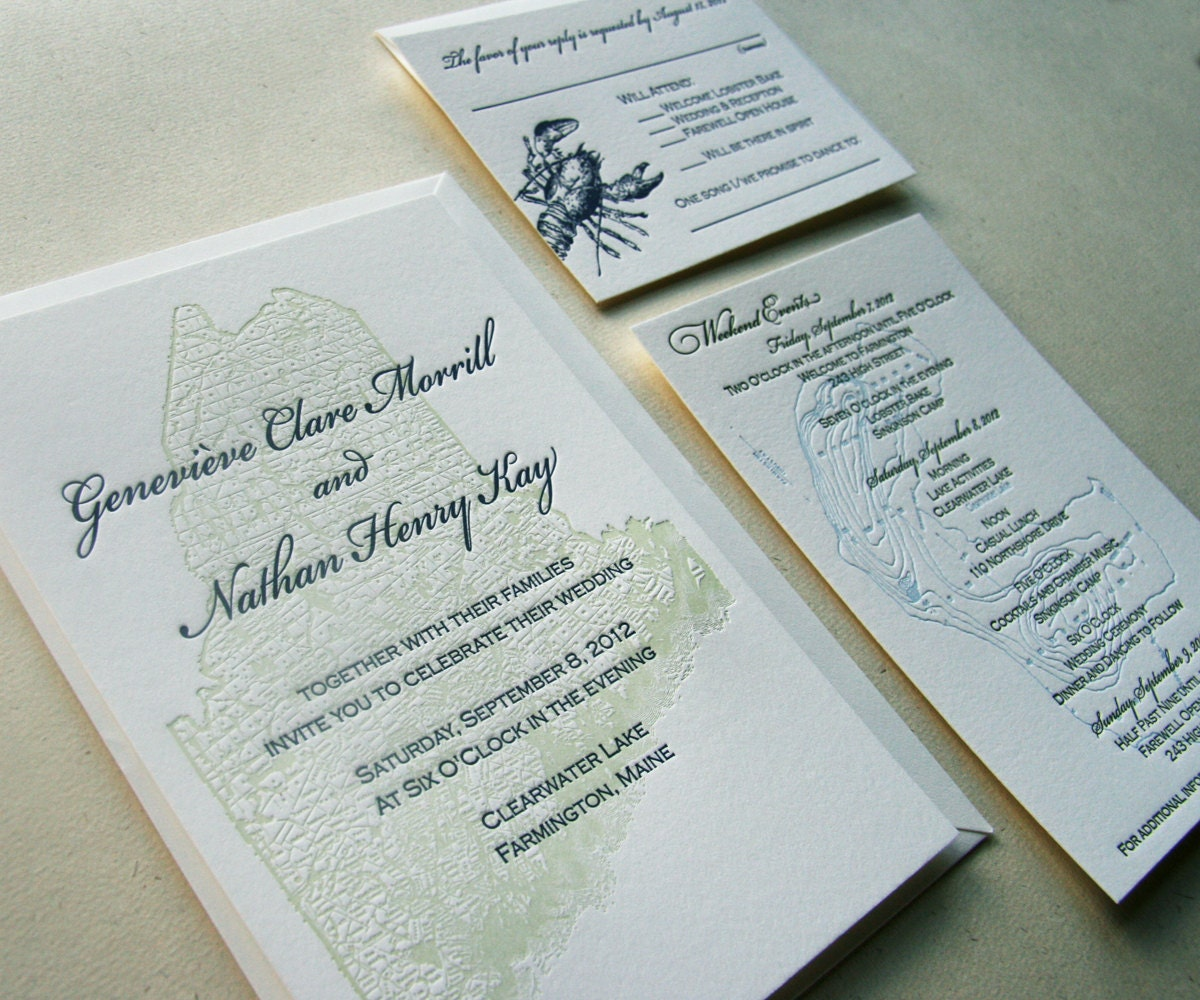 Wedding Invites Letterpress: Maine Map Letterpress Wedding Invitation Maine Wedding