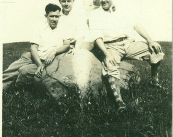 1920s Men And Boy Sitting on a Large Rock Mountain Meadow Vintage Photo Black and White Photograph
