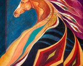 Native War  Blanket Horse Art Painting Print Jill Claire Original