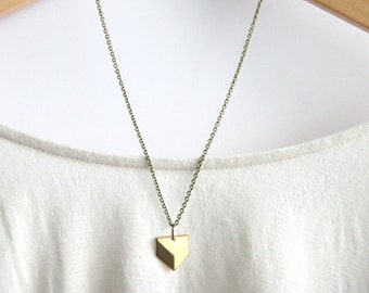 Geometric Necklace // Brass Modern Geometric Necklace // Chevron Charm Necklace // Layering Necklace
