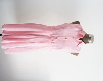 On the Sidewalk / Tea Party / Shift Dress / Retro / Wedding Party / Pink Dress with Pattern