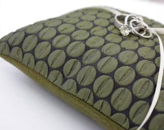 Green Shimmer Texture Dots Ring Bearer Pillow