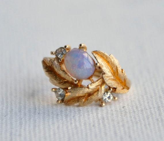 Vtg 60s Gold Leaf Opal Avon Ring Adjustable Sz 5 By