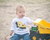 Digger Birthday Shirt, Excavator Birthday Shirt, Front Loader Birthday Shirt, Construction Birthday Shirt, Monogrammed Birthday Shirt