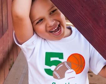 Sports Birthday Shirt, Football Birthday Shirt, Boys Birthday Shirt, Basketball Birthday, Baseball Birthday