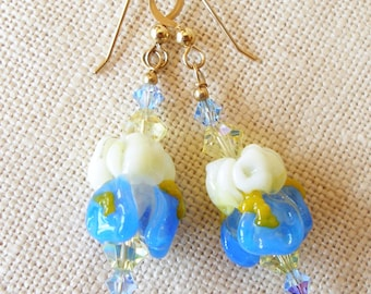 Iris Flower Earrings, Iris Earrings, Blue Flower, Spring, Garden