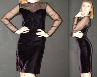 Vintage Black Velvet DRESS, TJuniors, 1980s