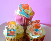 A Very Vintage Valentine - 1 dozen - Cake & Cupcake toppers - Cupcake Decorations