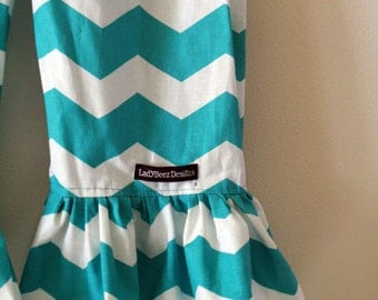 """Girls Ruffle Pants- Turquoise and White Chevron - Made from Viola Lee Pattern """"Emma Lee"""""""