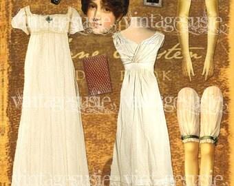 Art Paper Doll Collage Sheet of Author 'Jane Austen' digital download