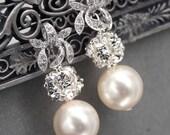 Rhinestone and Pearl Dangle Earrings, Bridal Post Earrings, Wedding Jewelry, Ivory Pearl Drop Earrings, Orchid Stud Earrings