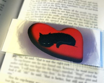 Black Cat Asleep on Heart Laminated Bookmark - Sammy the Black Cat Asleep on Heart Pillow Illustration