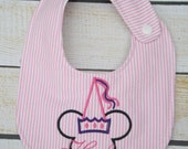 Unique monogrammed Princess bib, Personalized bib, Monogrammed bib, Baby shower gift, Seersucker bib, You Customize