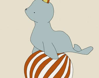 Nursery Art Print -- Circus Nursery Decor -- Baby Circus Seal -- Children Art Print, Kids Wall Art