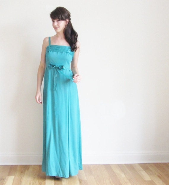 teal bridesmaid dress . turquoise bow tie ribbon gown .small .sale s a l e