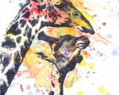 Portrait of a Giraffe Animal Watercolor Painting Print - 13 x 19 in print Great Children Kids Wall Art