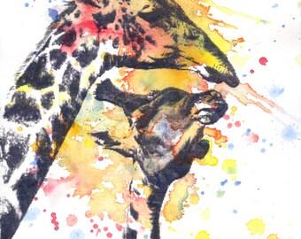 Giraffe Art Print from Original Watercolor Painting Giraffe Animal Nursery Decor Print Children's Wall Art Nursery Art Decor