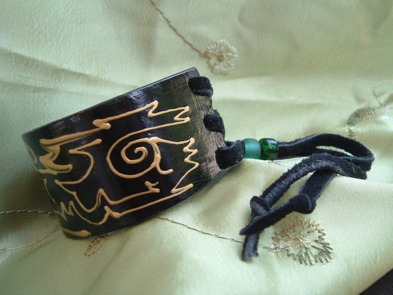Protector Eagle Hand-Painted Leather Cuff