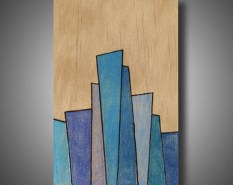 "Small Original Abstract Art on Pine - Woodburned and Colored with Prismacolor Pencils - Blue - 3.5"" x 5.75"""