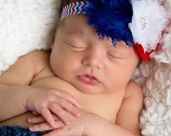 Baby Girl Headbands, Forth Of July Headband, red white Blue Headband, Shabby Chic Headband, Chevron Headband, newborn headband, Headband