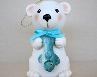 Polar Bear Flowerpot Bell Ornament
