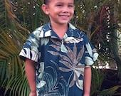 Boys Handmade Hawaiian Aloha Shirt Forest Nahele 6mo to 11/12