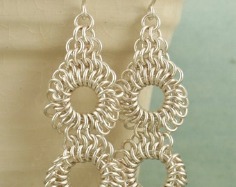 Tatted Lace Earrings Kit - Non Tarnish Silver Plate or Gold Color - Stunning Chainmaille