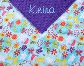 Baby Blanket Personalized - Birds and Flowers Minky and Dark Purple Minky - Girl