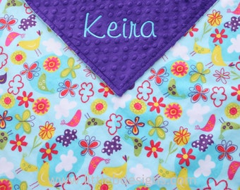 Baby Blanket Personalized - Birds and Flowers Minky and Dark Purple Minky - Girl