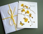 Tiger Orchid with golden yellow butterfly, orchid note cards, greeting card, no.1122