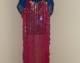 Egyptian Bellydance Royal Blue and Fuscia Sequined Tunic Turkish Style Costume