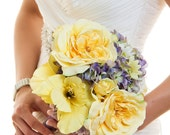 Brooke - Purple and yellow rose, gladiolus and hydrangea bouquet with daisy accents