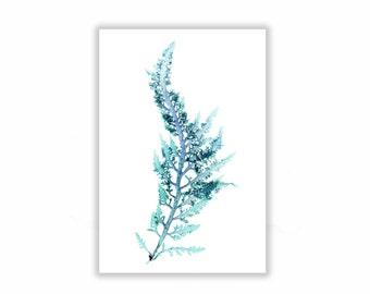 Large Seaweed Print Vibrant Teal Blue 13x19 Botanical Artwork, Ocean, Coastal Living, Beach, Wall Decor