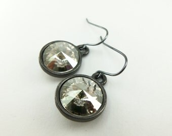 Gray Crystal Gunmetal Drop Earrings, Smoky Swarovski Dangle, Dark Silver Modern Silver Shade